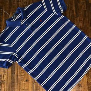 XL men's royal blue striped Ralph Lauren Polo